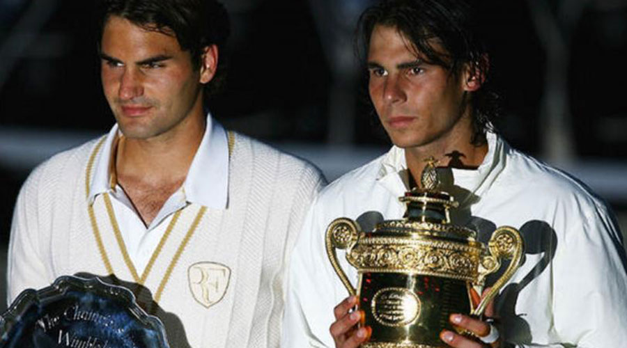 Roger Federer and Rafael Nadal after the Spaniard won the men's singles final at Wimbledon on July 6, 2008.