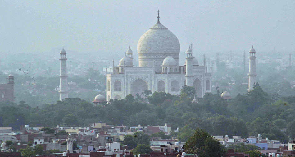 A view of Taj Mahal during Unlock 2.0 in Agra on Sunday