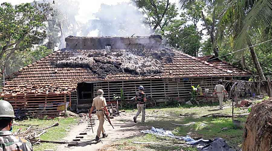 A house on fire at Maipith in Kultali, South 24-Parganas, on Saturday