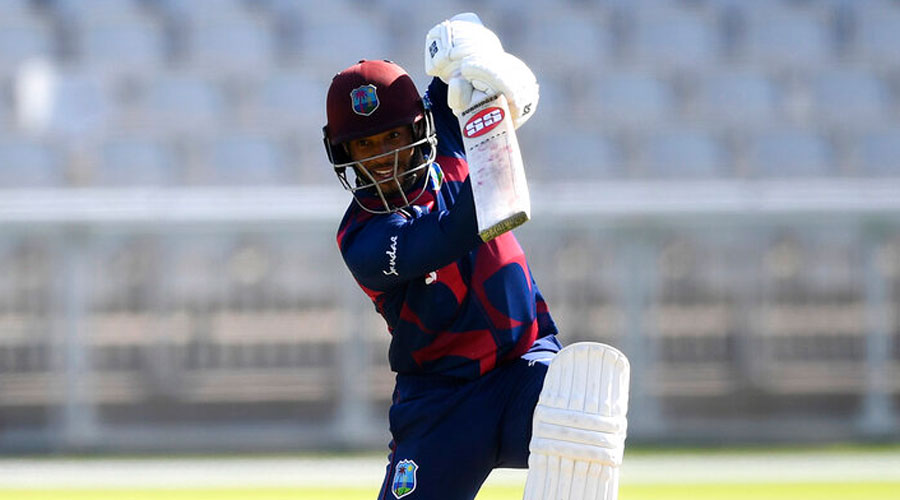 Shai Hope of West Indies hits out during Day One of a West Indies Warm Up match in Manchester on Tuesday.