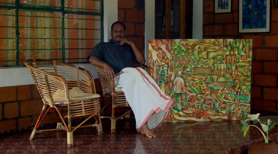 Suresh Bhaskar at his home in Kavumannam village of Wayanad district