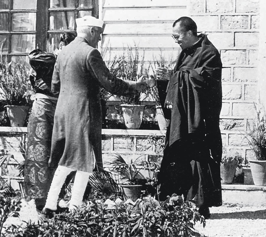 The Dalai Lama with Prime Minister Jawaharlal Nehru.  In 1959, the Dalai Lama had walked across the border and entered India after China repressed the Tibetan uprising.  The Nehru government granted the Tibet leader asylum and permission to establish a government-in-exile in Dharamshala. In 1989, the Dalai Lama was awarded the Nobel Prize for Peace in recognition of his non-violent campaign to end Chinese domination of Tibet