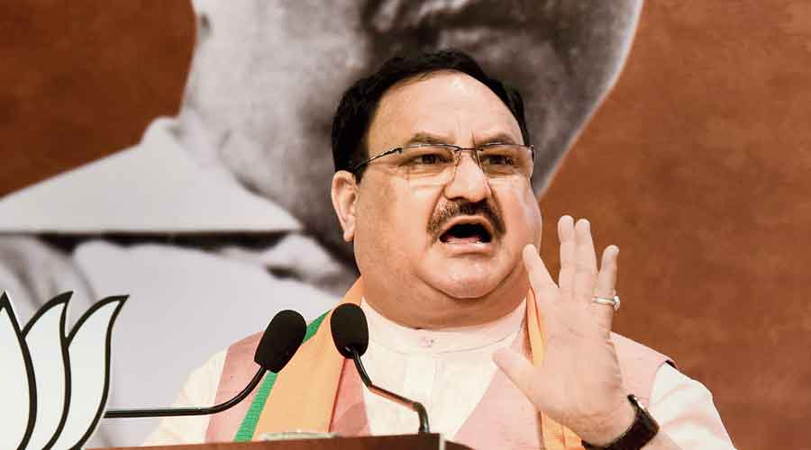 Nadda addresses a virtual public meeting after paying tributes to Syama Prasad Mookerjee at the BJP headquarters in New Delhi on Monday