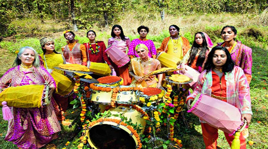 The video has been made with an all-female/gender non-conforming team in collaboration with local artistes and designers. Calcutta-based dancer Mekhola Bose (fifth from left) is also featured in the video