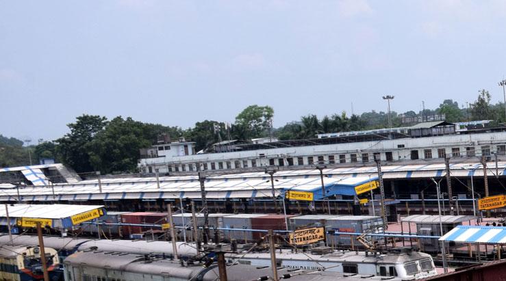 A freight train at Tatanagar railway station in Jamshedpur