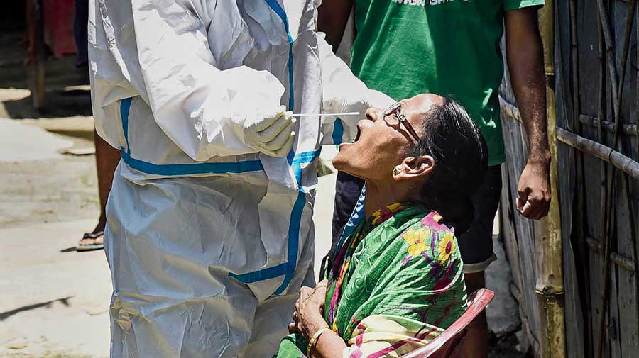 Health workers collect swab samples during a door-to-door campaign in Guwahati on Tuesday.