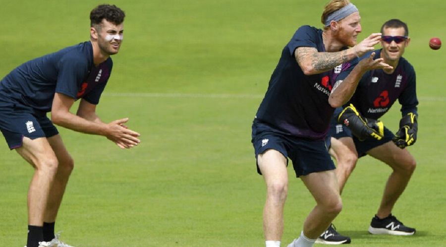 England captain Ben Stokes with Dom Sibley and Zak Crawley during practice at Ageas Bowl on Tuesday.