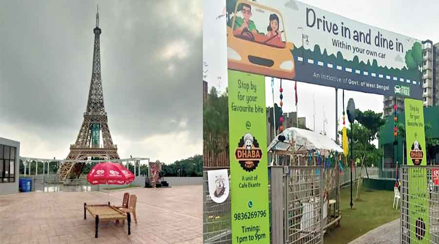 A charpoy and chairs in front of the replica of the Eiffel Tower at Eco Park which has been turned into a drive-in restaurant; (right) the entrance to the drive-in Dhaba Ajante at Eco Park