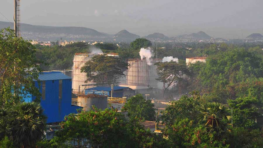 Vapour billows out from LG Polymers industry after the gas leak in Visakhapatnam.