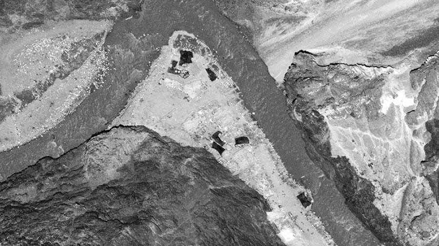 A satellite image provided by Maxar Technologies show the Galwan Valley on June 28
