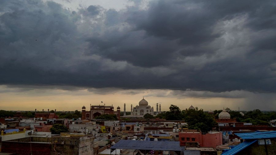 View of Taj Mahal as dark clouds hover in the sky, during Unlock 2.0, in Agra, Tuesday, July 7, 2020.
