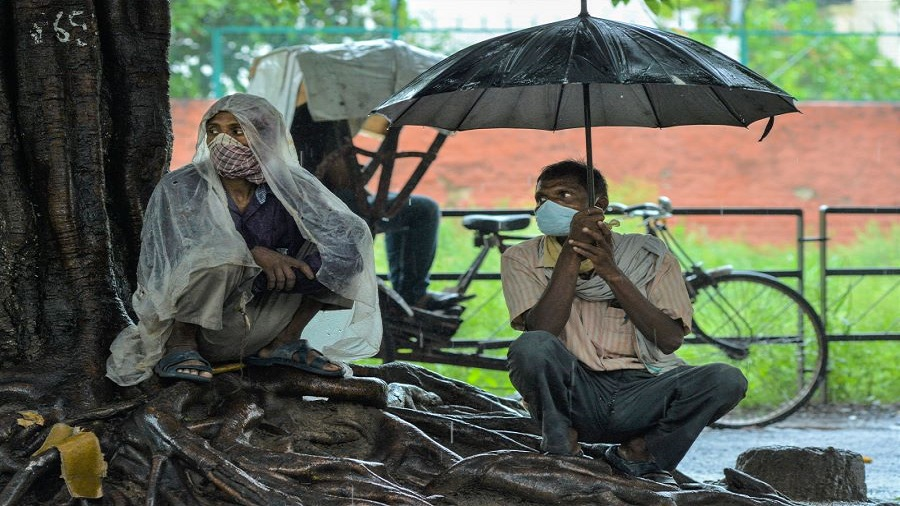 Migrant workers sit under a tree as they wait to get some work on a daily basis during heavy rain, at Labour Chowk in Chandigarh, Wednesday, July 8, 2020.