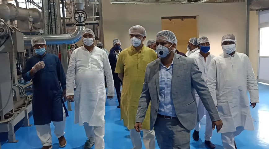 Jayant Sinha (in yellow kurta) at a potato chips factory in  Hazaribagh on Wednesday