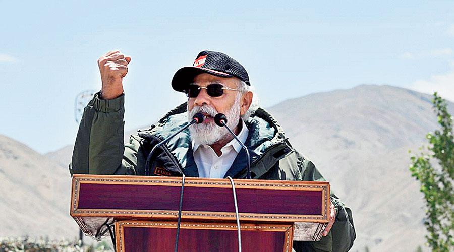 Prime Minister Narendra Modi speaks during his visit to Nimu forward post in Ladakh.