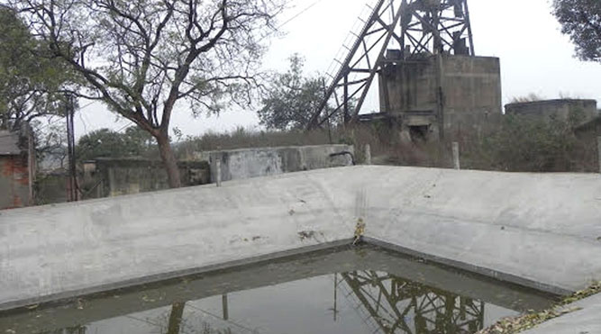 The Dharmabandh mine pit water reservoir in Katras