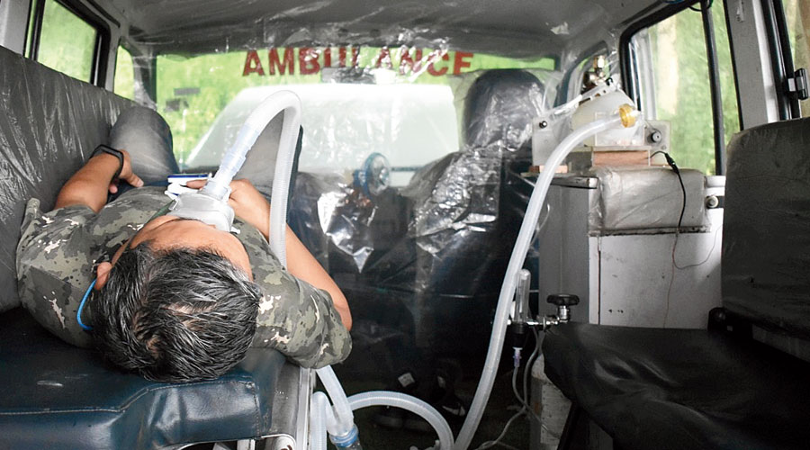 A demonstration of the HMI's motor-operated Ambu bag inside an ambulance