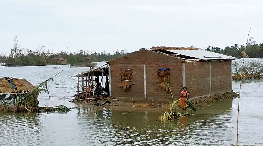 An inundated Jagnanath Ghat in the Hingalganj block of the Sunderbans.