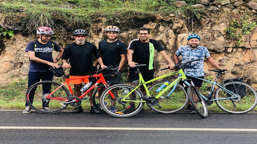 A group of cyclists participating in Monsoon Distance Challenge 2020