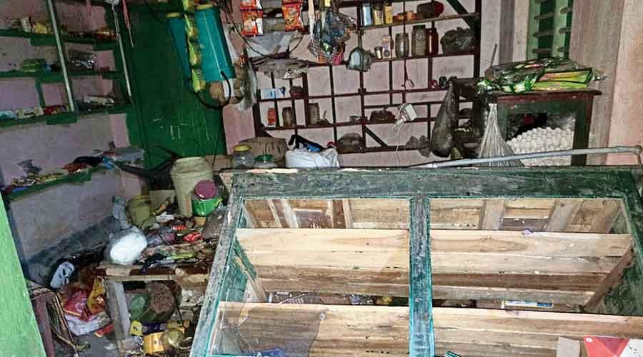 The ransacked grocery store of BJP booth president Joydev Das at Gokulnagar