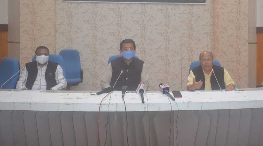 Meghalaya chief minister Conrad K Sangma briefing reporters on Saturday