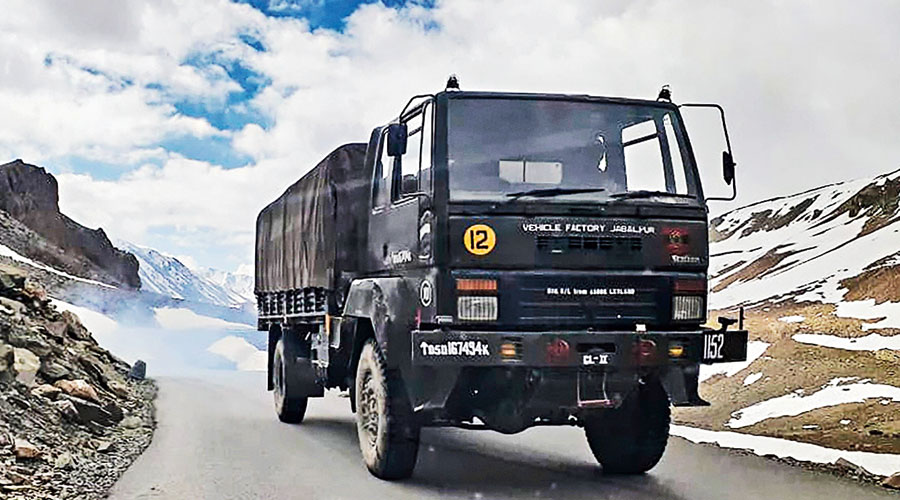 A vehicle of the Indian Army at the Bara-lacha pass in Lahaul, Himachal Pradesh, on Saturday while on its way to Ladakh.