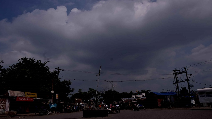 Clouds engulf the skyline over Sakchi in Jamshedpur on Sunday