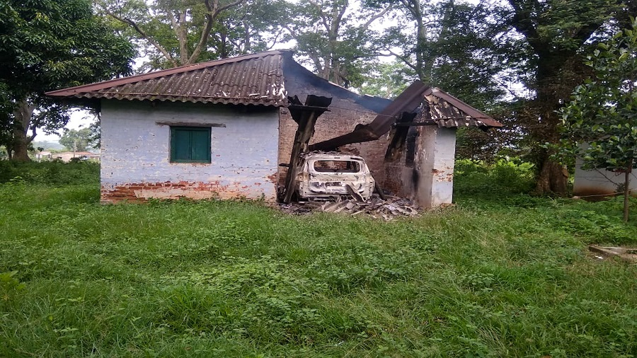 One of the 12 forest department buildings that was blown up by Maoists during a midnight attack near Chaibasa on Sunday