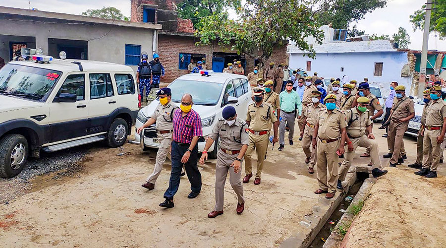 A Special Investigation Team visits the Bikru village, where eight policemen were killed by gangster Vikas Dubey on July 3, for investigation into the case in Kanpur on Sunday, July 12, 2020.