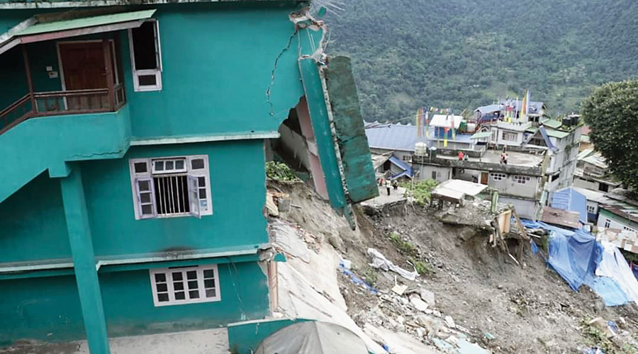 The multi-storied building, the portion of which collapsed, at Mangan in North Sikkim