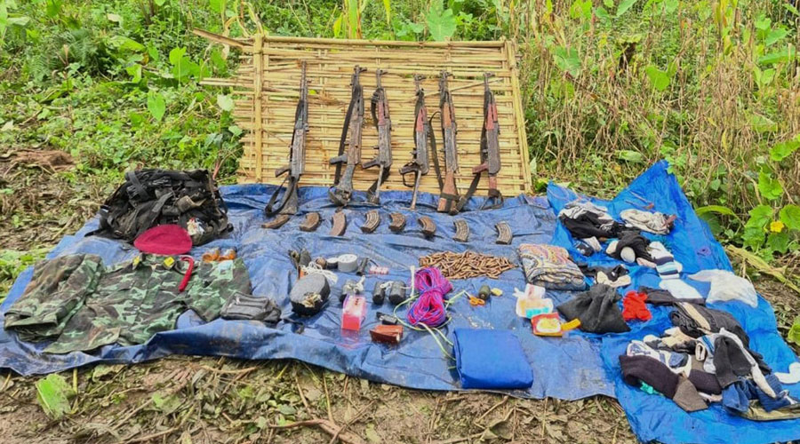Arms and ammunition recovered after six NSCN (IM) insurgents were killed in an encounter with security forces in Khonsa area of Arunachal Pradesh on Saturday.