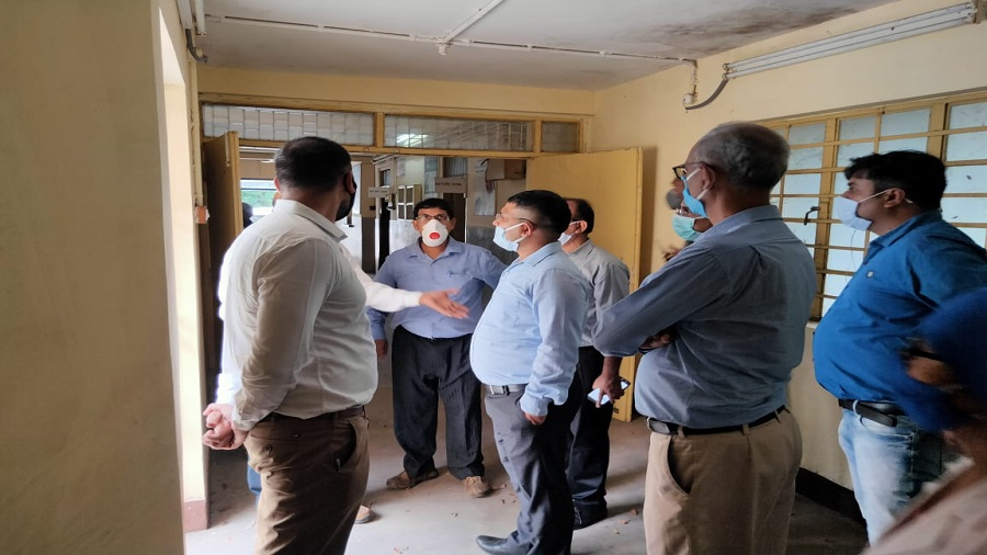 A joint team of officials belonging to Bokaro General Hospital and the district administration inspect a site in Sector 5, the proposed location of a Covid-19 testing laboratory in Bokaro early in June