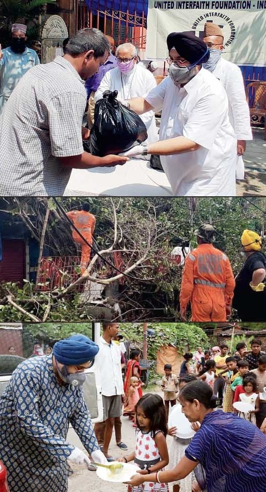 Satnam Singh Ahluwalia (right) and IHA Foundation volunteers, along with the United Interfaith Foundation-India members, distribute dry ration kits to migrants and daily wage workers; Satnam and his team from Kolkata Response Group assist the NDRF after the devastation caused by Cyclone Amphan in removing trees; Satnam serves cooked food to the underprivileged in slums of Calcutta and the suburbs with Gurdwara Behala and IHA Foundation volunteers