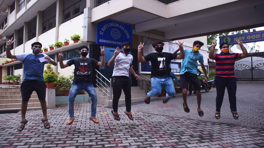 Students of St Mary's English High School jump in joy after CBSE results were announced on Monday