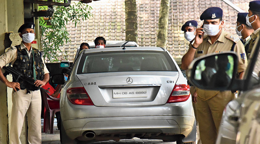 A car belonging to Sandeep Nair parked outside the customs office in Kochi on Monday.