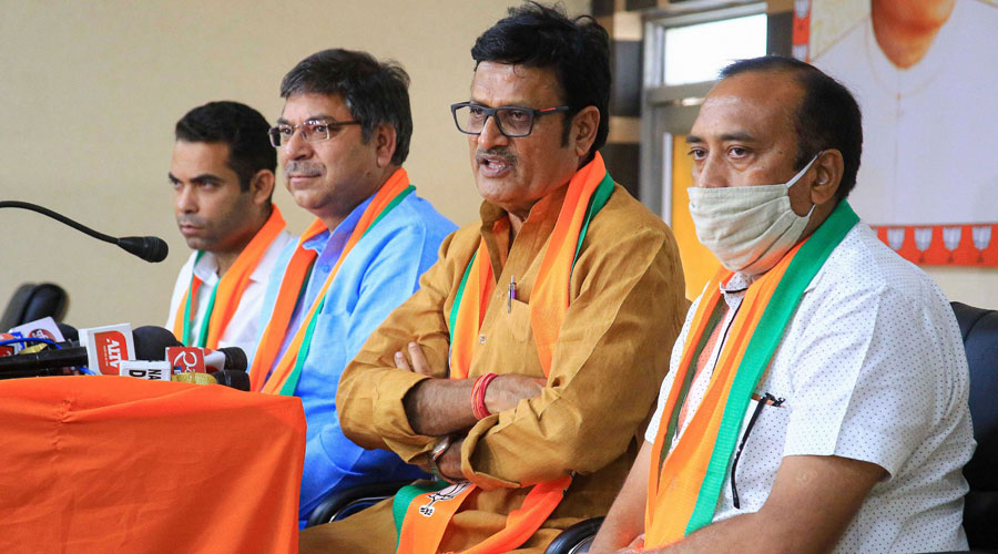 Rajasthan BJP chief Satish Poonia and senior leader Rajendra Rathore during a news conference in Jaipur on Saturday.