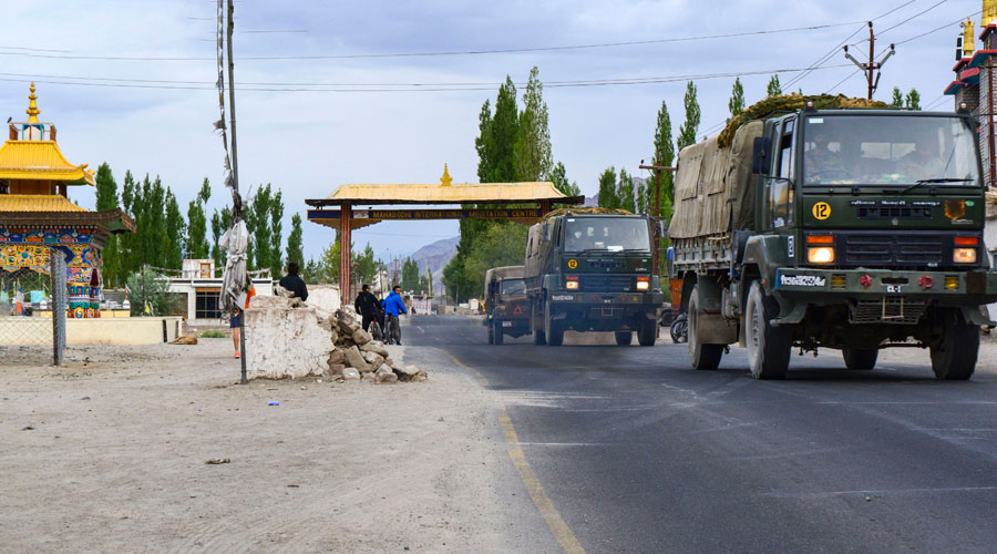 An army convoy moves towards LAC amid the India-China border dispute in eastern Ladakh in Leh on Sunday.