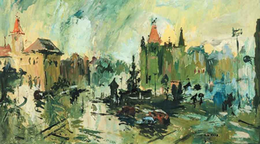 Flora Fountain in Monsoon (1945) by S.H. Raza