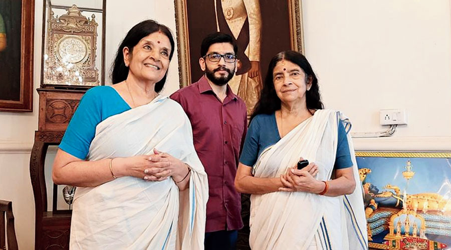 Gowri Parvathy Bayi (left), Aditya Varma and Gowri Lakshmi Bayi, some of the  members of the erstwhile Travancore royal family, at the Kowdiar Palace in Thiruvananthapuram on Monday