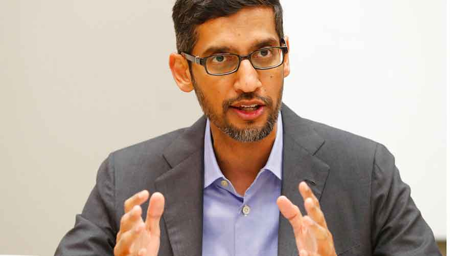 In this Oct. 3, 2019 file photo, Google CEO Sundar Pichai speaks during a visit to El Centro College in Dallas.