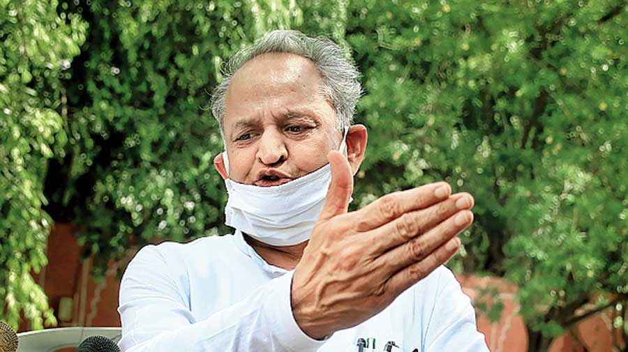 Ashok Gehlot in Jaipur on Tuesday.