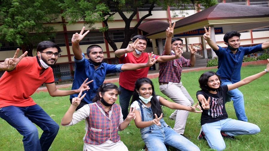 Students of DAV Public School-Bistupur celebrate after the announcement of CBSE class X results on Wednesday in Jamshedpur