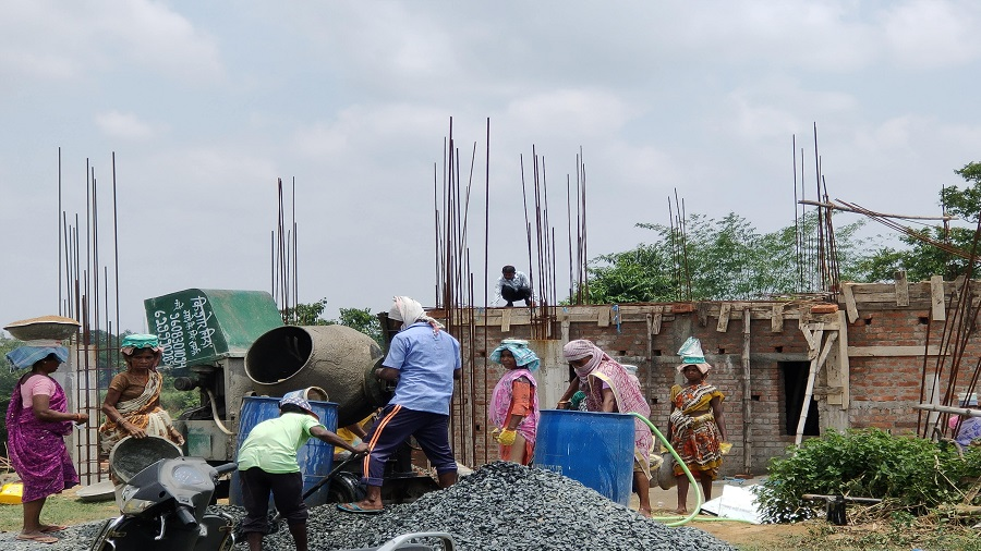 A building being constructed at Ghagra Namkum in Ranchi