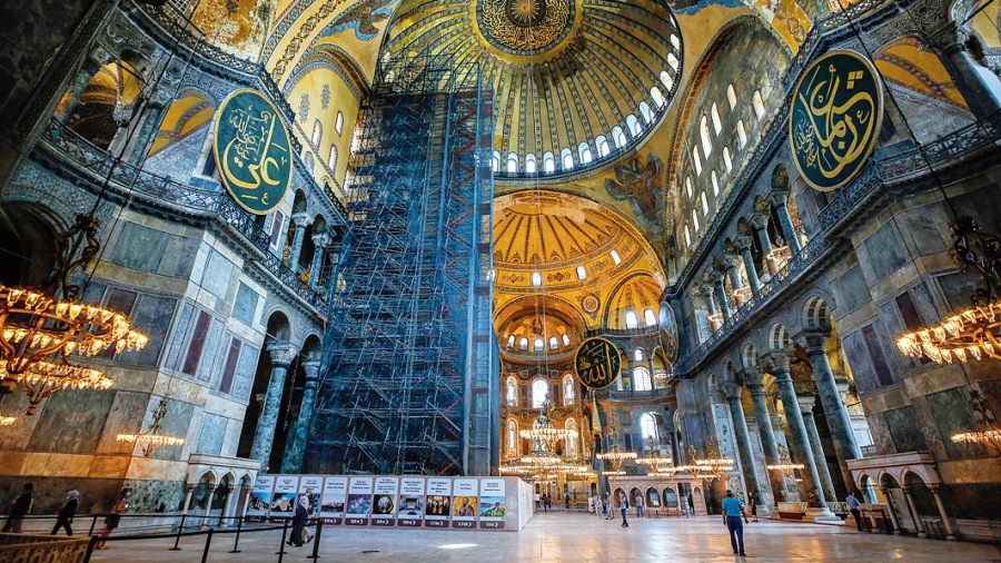 The interiors of the Hagia Sophia