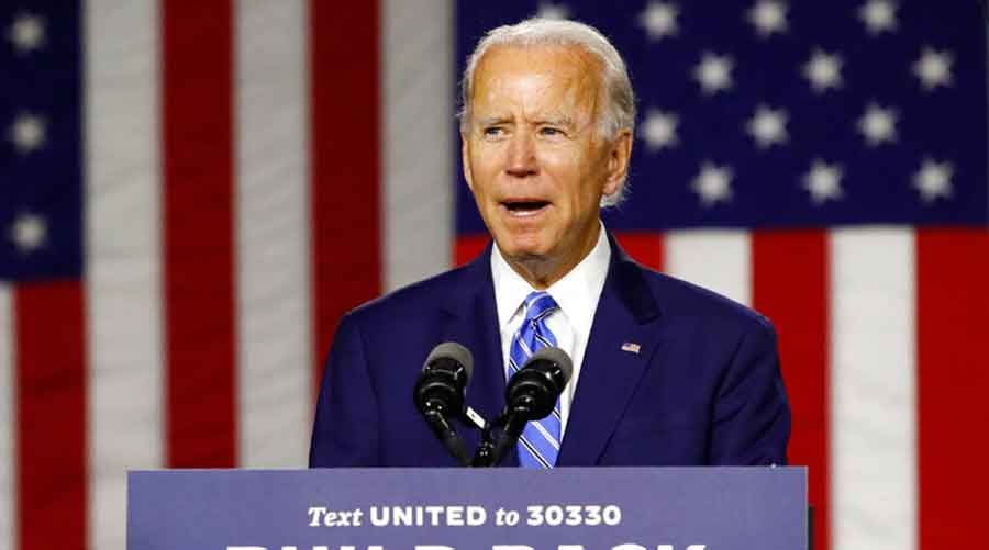 Democratic presidential candidate and former vice-president Joe Biden in Wilmington, Delaware, on Tuesday.