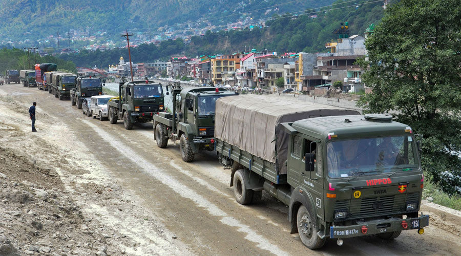 Army vehicles move towards Leh, amid border tension between Indian and Chinese troops in eastern Ladakh on Wednesday, July 15, 2020.