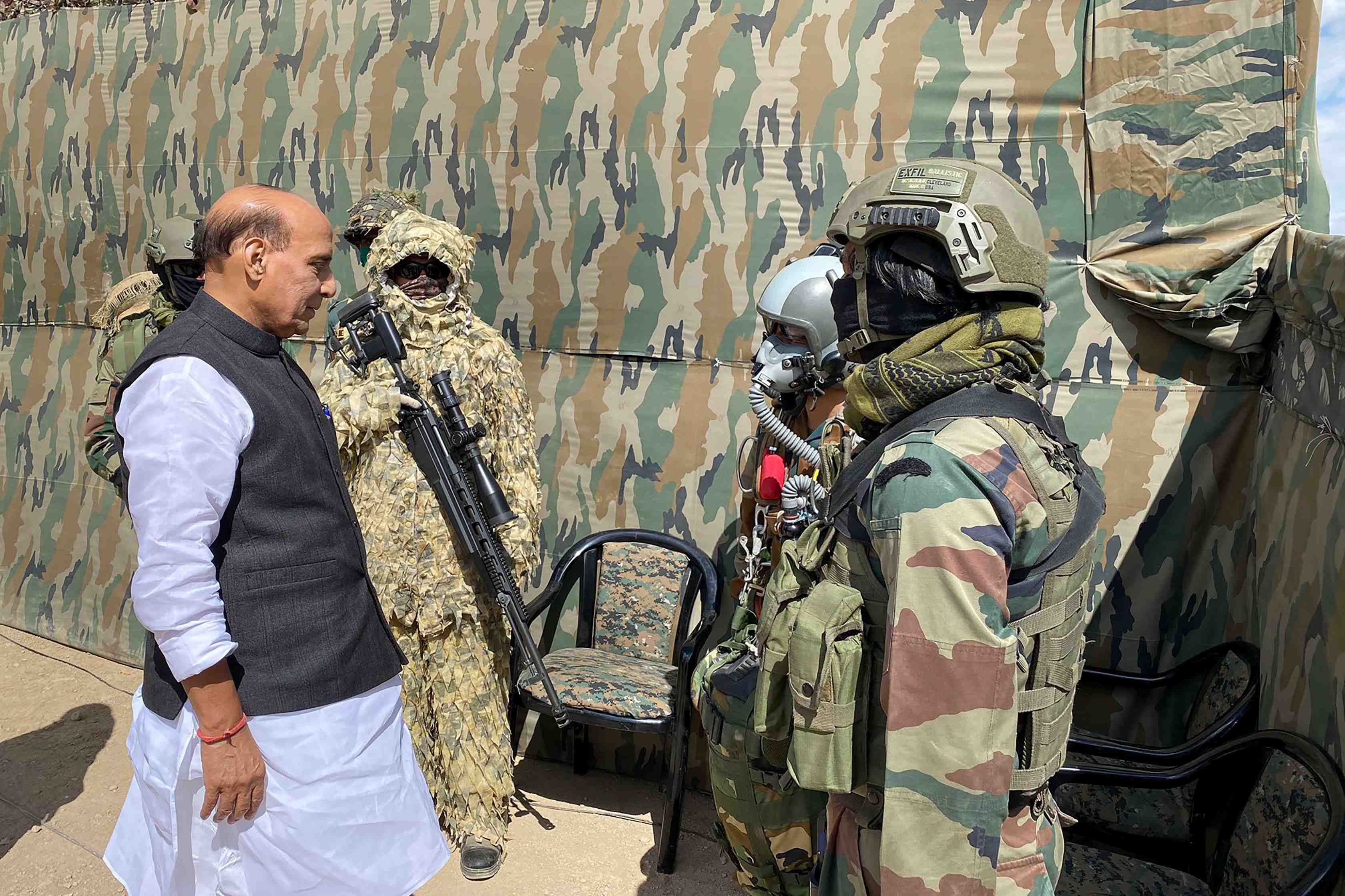 Defence minister Rajnath Singh interacts with the troops who participated in the para dropping and other military exercise at Stakna, in Leh, Ladakh, Friday, July 17, 2020