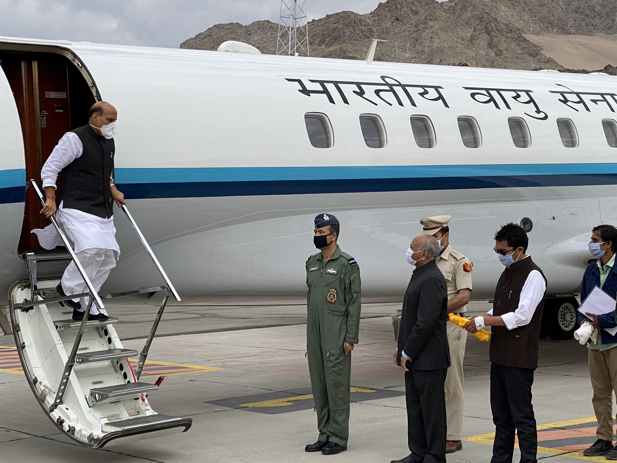 Defence minister Rajnath Singh arrives in Leh, Ladakh, Friday, July 17, 2020.