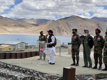 Defence minister Rajnath Singh talks to Indian Army pesonnel in Leh, Ladakh, Friday, July 17, 2020.
