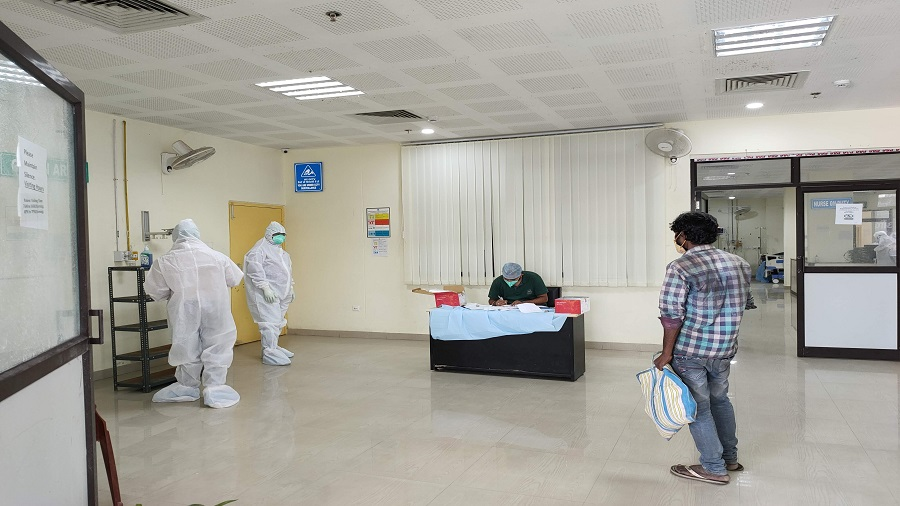 Health staff at work at the Covid hospital set up at the Rajendra   Institute of Medical Sciences (RIMS) trauma centre in Ranchi