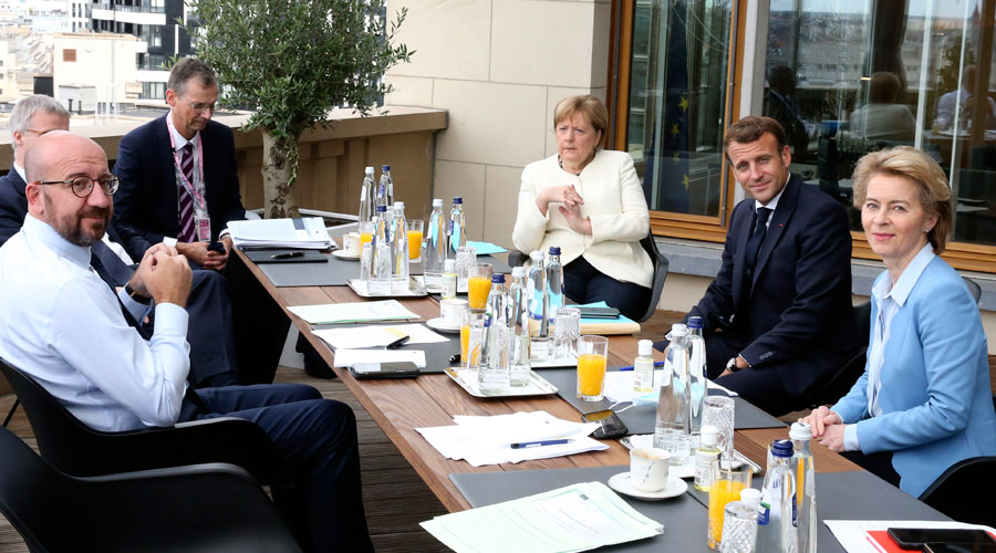 President of EC Charles Michel (left), German Chancellor Angela Merkel (centre), French President Emmanuel Macron (second from right) and president of the EC Ursula von der Leyen in Brussels.